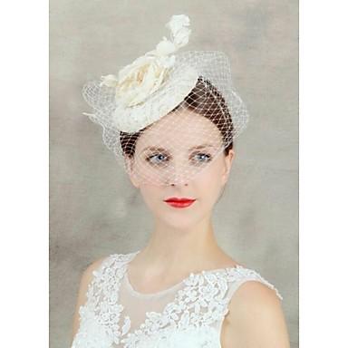 Femme Perle Tissu Filet Casque-Mariage Occasion spéciale Voile de cage à oiseaux 1 Pièce