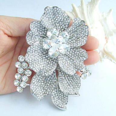γάμος 3,54 ιντσών ασήμι-Ήχος σαφές rhinestone crystal νυφικό καρφίτσα λουλούδι