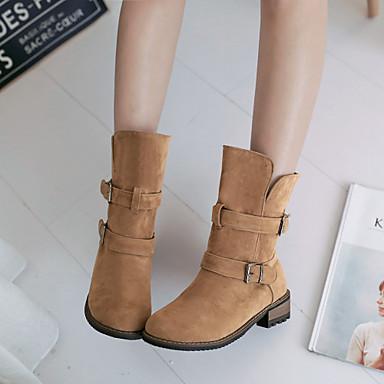 Feminino Sapatos Flanelado Primavera Outono Inverno Salto Robusto Botas Cano Médio Presilha Para Casual Social Preto Cinzento Amarelo