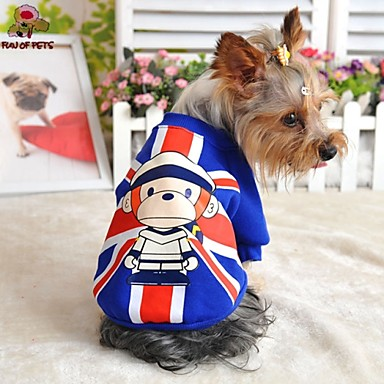 Cat Dog Sweatshirt Dog Clothes Fashion Cartoon Red Blue Costume For Pets