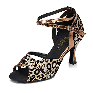 Προσαρμόσιμα - Λατινικοί - Παπούτσια Χορού - με Φουντωτό Τακούνι - από Δερματίνη - για Γυναικεία/Παιδικά
