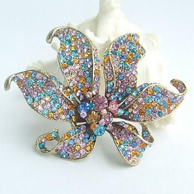 πανέμορφο 3,74 ιντσών κρεμαστό χρυσό-Ήχος πολύχρωμα στρας κρυστάλλινα καρφίτσα ορχιδέα λουλούδι