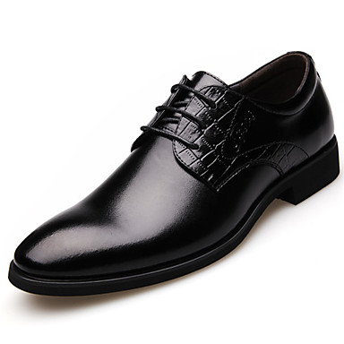 Erkek Ayakkabı Tüylü Bahar / Yaz / Sonbahar Biçimsel Ayakkabı Oxford Modeli Düğün / Parti ve Gece / Ofis ve Kariyer için Bağcıklı Siyah / Kahverengi / Resmi Ayakkabı / Deri ayakkabı