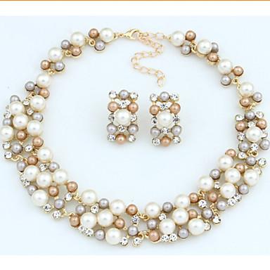 סט תכשיטים וינטאג' מסיבה Party פנינה דמוי פנינה אבן נוצצת סגסוגת שרשרת עגילים