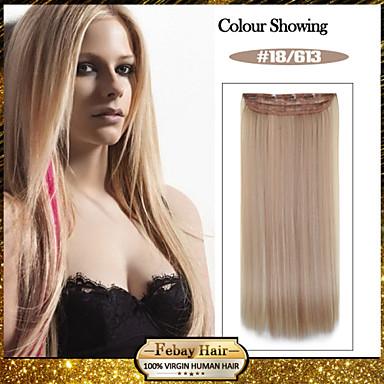 Длиной 5 роликов прямые Цвет 18/613 синтетический зажим для волос в волос расширений для дам больше цветов, доступных