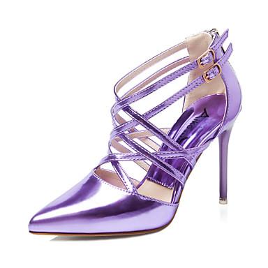 Damen Schuhe Kunstleder Sommer Stöckelabsatz Schnalle Für Kleid Silber Purpur Grün Rosa Golden