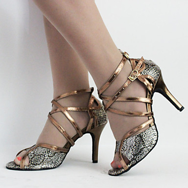 Damen Schuhe für den lateinamerikanischen Tanz Kunstleder Stöckelschuhe / Sandalen Innen / Anfänger Schnalle / Schnürsenkel Stöckelabsatz