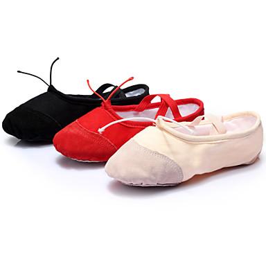 Kadın's Bale Kanvas Spor Ayakkabı İç Mekan Egzersiz Yeni Başlayan Profesyonel Kurdele Bağcık Düz Taban Siyah Kırmızı Pembe