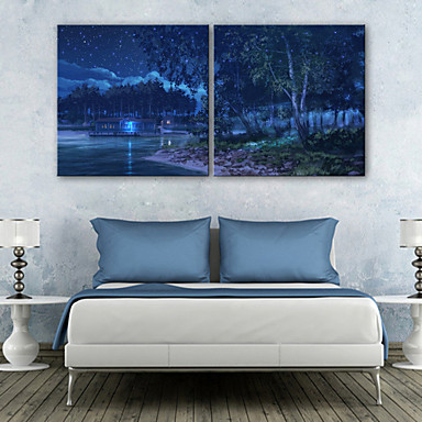 LED Canvas Art Landscape Two Panels Square Print Wall Decor Home Decoration
