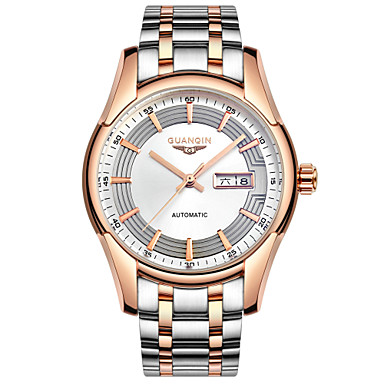 Herren Armbanduhr Automatikaufzug Kalender / Wasserdicht / Transparentes Ziffernblatt Edelstahl Band Silber Marke