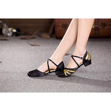 Женская обувь/Детская обувь - Атлас/Пайетки - Номера Настраиваемый (Черный) - Современный танец