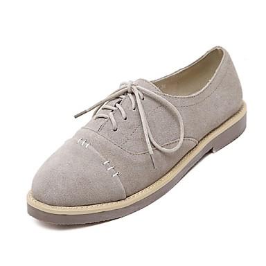 Γυναικεία παπούτσια - Oxfords - Καθημερινά - Επίπεδο Τακούνι - Ανατομικό / Κλειστή Μύτη - Σουέτ - Μαύρο / Μπεζ