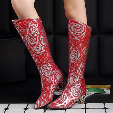 여성 구두 레더렛 겨울 가을 청키 굽 무릎 높이 부츠 결혼식 파티/이브닝 용 지퍼 화이트 블랙 레드