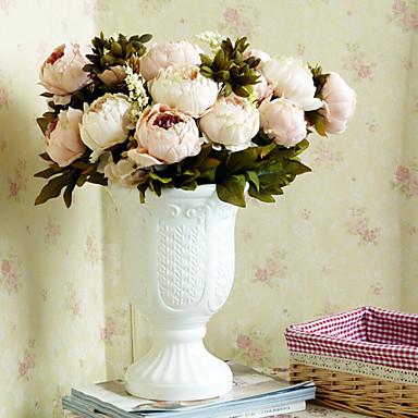 1 Κλαδί Πολυεστέρας Παιώνιες Λουλούδι για Τραπέζι Ψεύτικα λουλούδια