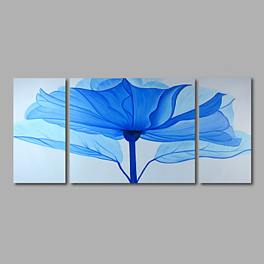 Maalattu Abstrakti Kukkakuvio/Kasvitiede Horisontaalinen Panoramic,Moderni 3 paneeli Kanvas Hang-Painted öljymaalaus For Kodinsisustus