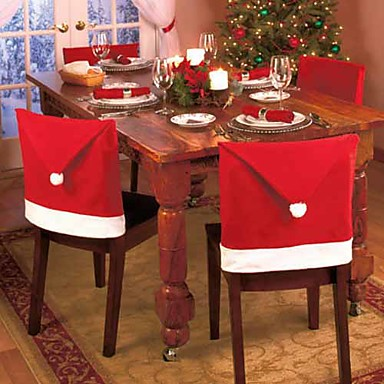 Set of 4 Santa Red Hat Chair Covers Christmas Decorations Dinner Chair Xmas Cap Sets