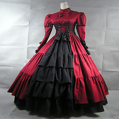 Victorien Rococo Femme Une Pièce Robes Rouge Cosplay Dentelle Manches Longues