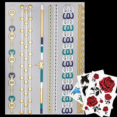 4 - 23*15*0.1cm - Χρυσό / Μπλε / Πολύχρωμο / Ασημί - Necklace Jewelry - No - Σειρά Κοσμημάτων - Αυτοκόλλητα Τατουάζ - Μοτίβο / Waterproof