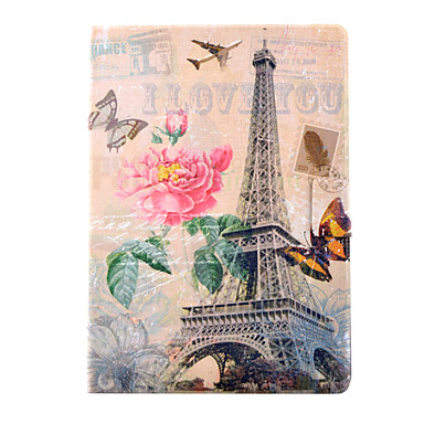 Case For iPad Air Card Holder with Stand Pattern Full Body Cases Eiffel Tower PU Leather for iPad Air
