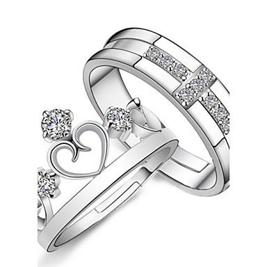 Damen Eheringe - Sterling Silber, Krystall, Strass Kreuz, Herz, Krone Modisch Verstellbar Silber Für Geschenk Alltag Normal / 2pcs