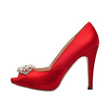 Femme Chaussures Satin Printemps Eté Talon Aiguille Cristal pour Mariage Habillé Soirée & Evénement Blanc Rouge Champagne
