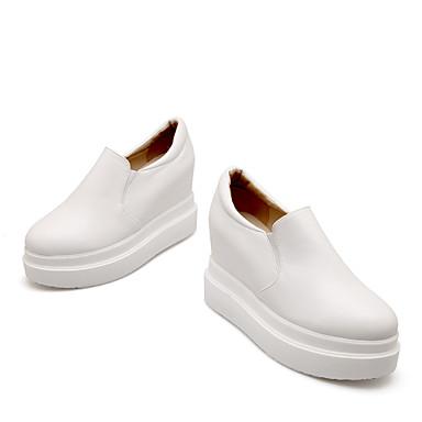 Для женщин Обувь Дерматин Весна Лето Осень Платформа Назначение Повседневные Белый Черный Бежевый