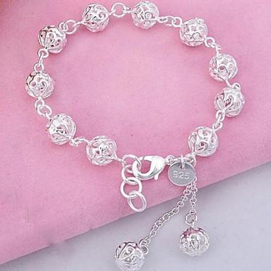 abordables Bracelet-Breloque Charms Bracelet Bracelet à Perles Femme Franges Sculpture Cristal Argent sterling Boule dames Mode Bracelet Bijoux Argent pour Soirée Quotidien Sports