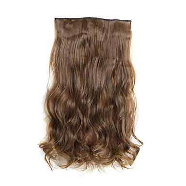 24-дюймовый 120г длинные вьющиеся светло-коричневый 5 клип в наращивание волос теплостойкую синтетическое волокно