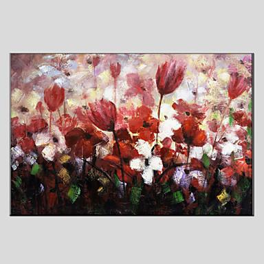 Ручная роспись Цветочные мотивы/ботаническийЕвропейский стиль / Modern 1 панель Холст Hang-роспись маслом For Украшение дома