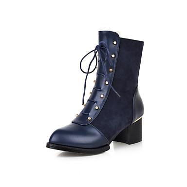 Saappaat - Leveä korko - Naisten kengät - Tekonahka - Musta / Sininen / Punainen - Puku - Teräväkärkiset / Saappaat