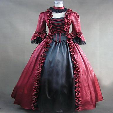 Średniowieczne Viktoriánské Kostium Damskie Sukienki Bal maskowy Kostium imprezowy Postarzane Cosplay Koronka Satyna Długi rękaw Długi