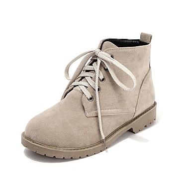 Femme Chaussures Similicuir Hiver Automne Talon Plat 5,08 à 10,16 cm Bottine/Demi Botte Lacet pour Décontracté De plein air Noir Beige