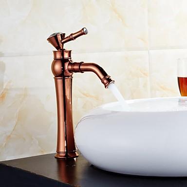 Art Deco/Retro Widespread Rotatable Ceramic Valve One Hole Single Handle One Hole Rose Gold , Bathroom Sink Faucet