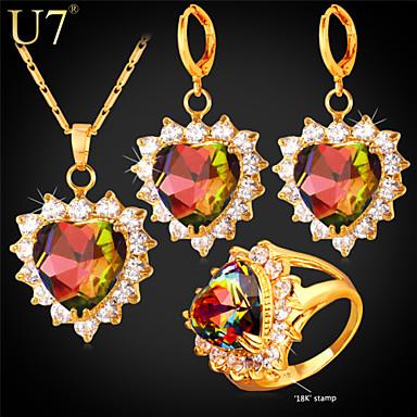 Damen Kubikzirkonia Krystall / Gold / Zirkon Schmuck-Set 1 Halskette / 1 Paar Ohrringe / 1 Ring - Liebe / Mehrfarbig Gold Für Hochzeit /