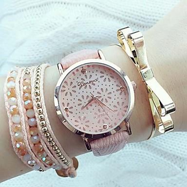 Жен. Модные часы Кварцевый С гравировкой PU Группа Elegant Черный Белый Розовый
