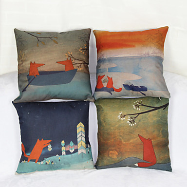 Набор из 4 маленькой крышкой лиса наволочка диван домашнего декора подушке (17 * 17 дюймов)