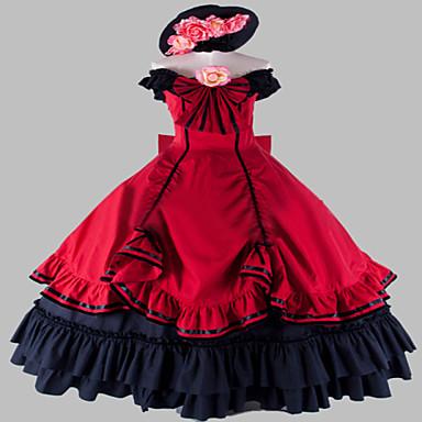 Μονοκόμματο/Φορέματα Γοτθική Λολίτα Steampunk® Victorian Cosplay Φορέματα Λολίτα Πεπαλαιωμένο Αμάνικο Μακρύ Μήκος Φόρεμα Για τηνΛινό