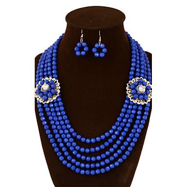 Cristal Conjunto de jóias - Vintage, Festa, Trabalho Incluir Vermelho / Azul Para Casamento / Festa