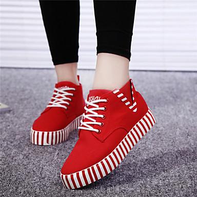 Zapatos rojos de otoño de punta redonda casual para mujer COB63