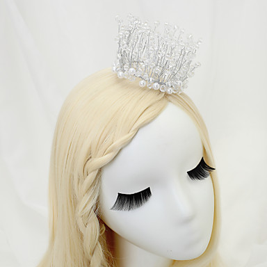 Gemstone & Crystal Tulle Crystal Imitation Pearl Alloy Flowers Headpiece with Crystal Feather 1 Wedding Special Occasion Birthday Event /