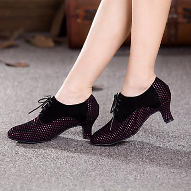 Dame Moderne sko Semsket lær Høye hæler Snøring Kubansk hæl Kan ikke spesialtilpasses Dansesko Gul / Fuksia / Innendørs / Ytelse / Trening / Profesjonell
