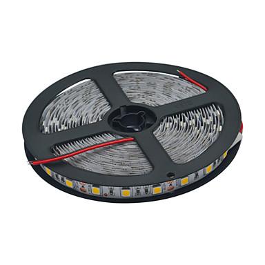 5 m Fleksible LED-lysstriper 300 LED 5050 SMD Varm hvit / Hvit Kuttbar / Koblingsbar 12 V