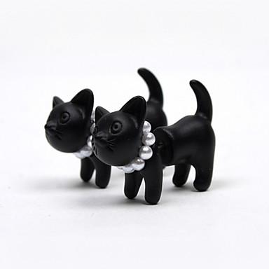 Χαμηλού Κόστους Μοδάτα Σκουλαρίκια-Γυναικεία Κουμπωτά Σκουλαρίκια Γάτα Ζώο Μαργαριτάρι Απομίμηση Μαργαριταριού Ρητίνη Σκουλαρίκια Κοσμήματα Μαύρο Για