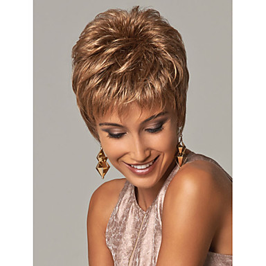 Synthetic Wig Wavy Synthetic Hair Brown Wig Women's Short Capless