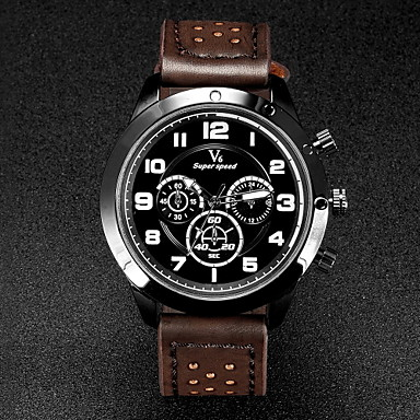 V6® Men's Military Design Leather Strap Quartz Casual Watch Cool Watch Unique Watch