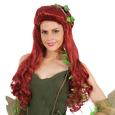 Mulher Perucas sintéticas Sem Touca Médio Liso Vinho Peruca de Halloween Peruca de carnaval Perucas para Fantasia