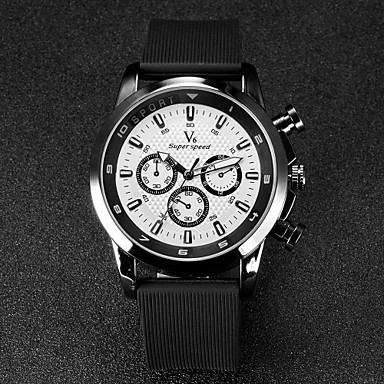 V6 Men's Wrist watch Quartz Japanese Quartz Rubber Band Black