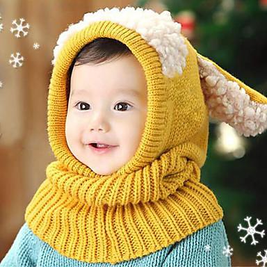 Girls' Boys' Hats & Caps Jewelry Set, Winter Cotton Bandanas - Yellow Red Blue Pink