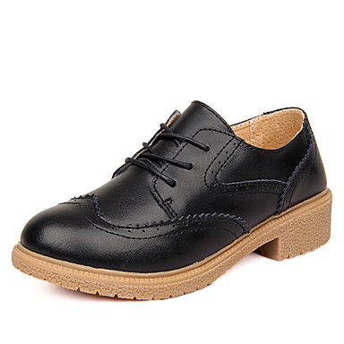 Women's Shoes Leather Flat Heel Comfort / Oxfords Party & Evening / Dress / Casual Black / Yellow / Red / White