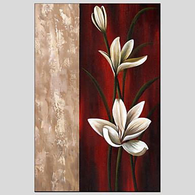 Kézzel festett Virágos / BotanikusModern / Európai stílus Egy elem Vászon Hang festett olajfestmény For lakberendezési
